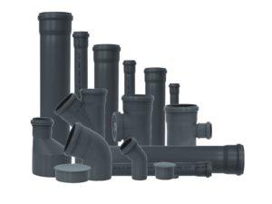Трубы и фитинги для ВНУТРЕННЕЙ канализации (серые, белые)